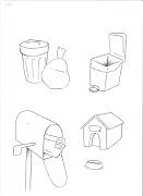 desenho de lixeira de lixo para pintar, desenho de correio e desenho de .