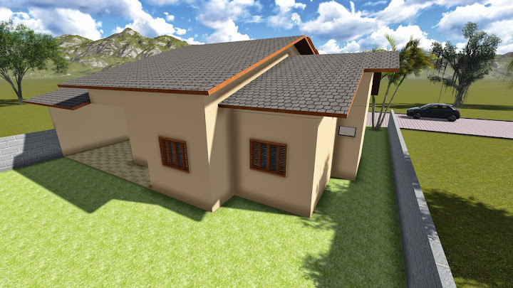 Fachada traseira de casa térrea com 3 quartos