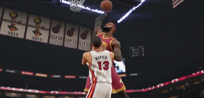 NBA 2K15 'Yakkem' Trailer Gameplay Screenshot - LeBron James Dunks on Shabazz Napier
