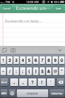 Mostra uma tela de uma nota de texto sendo criada. Possui um botão para incluir anexo ou foto.