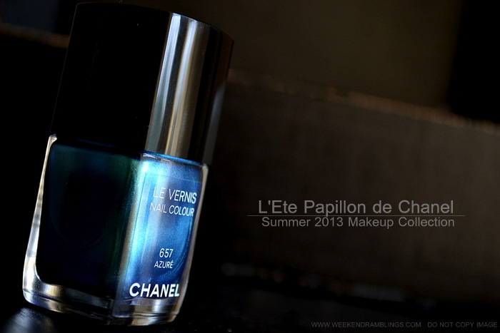 Chanel Le Vernis Nail Polish Azure Lete Papillon De Chanel Summer 2013 Makeup Collection Photos Swatches Review NOTD Indian Darker Skin Beauty Blog