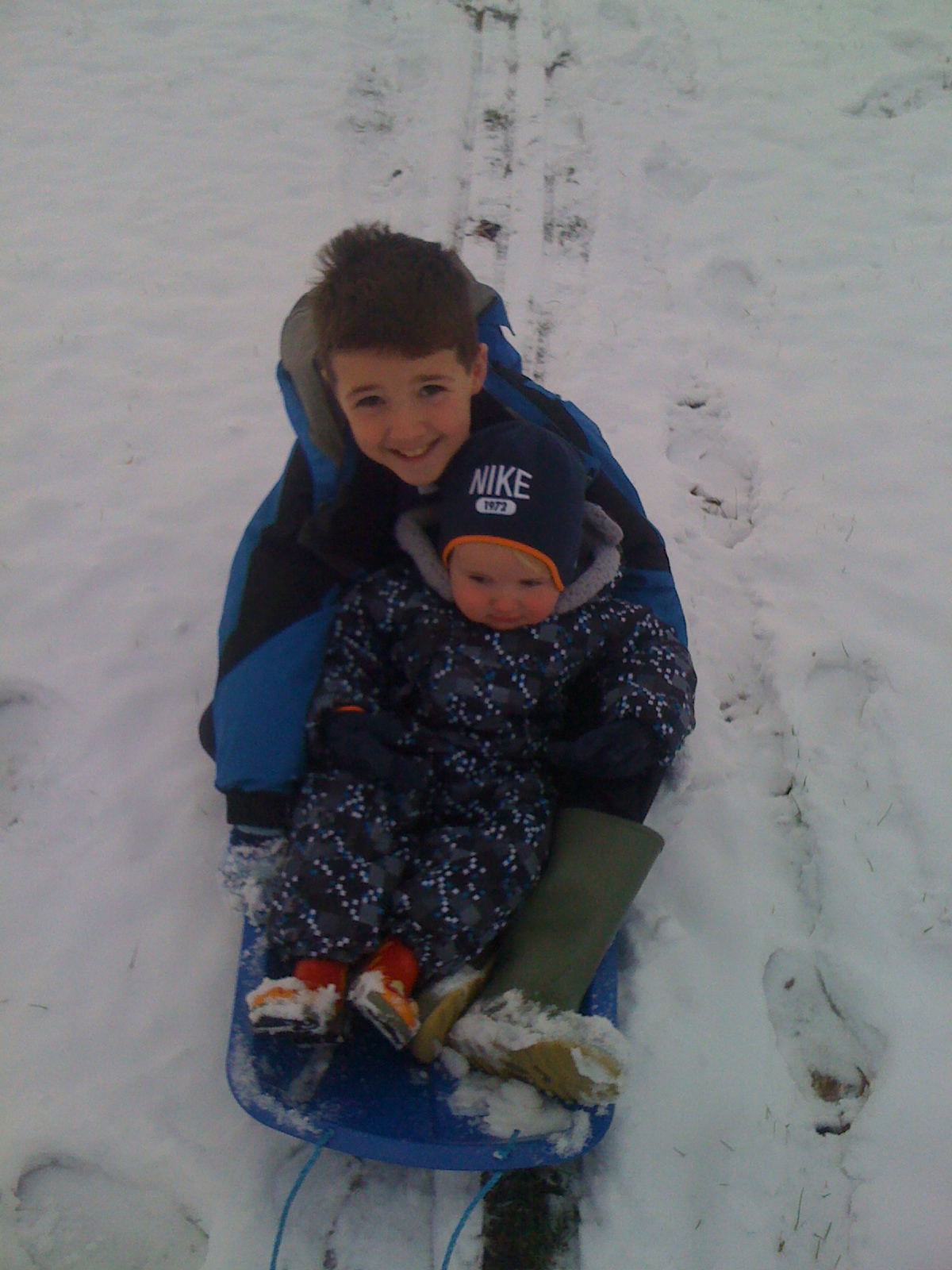 Kian and Isaac in the snow, December 2010