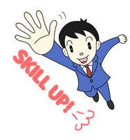 businessman with his hand extended in the air. Text saying, SKILL UP! next to his hand.