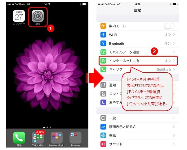 iPhone [設定] → [インターネット共有]