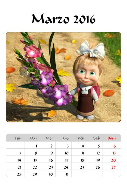 Calendario 2016 - Masha e Orso - Marzo
