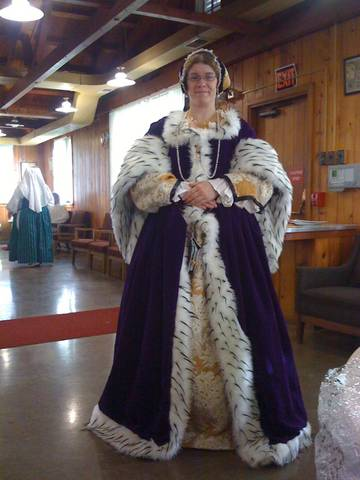 Purple Velvet Ermine Fur Tudor Gown