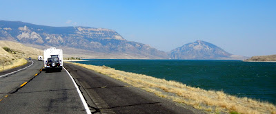 Views of the Buffalo Bill Reservoir on highway 20 outside of Yellowstone National Park in Wyoming
