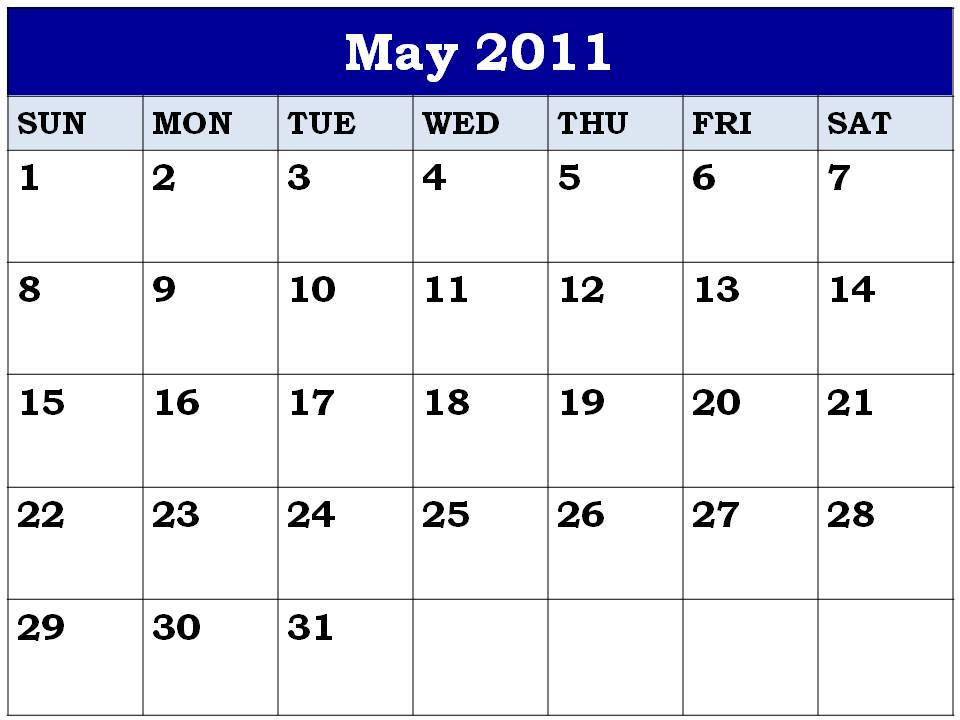 may calendar 2011 printable. april may calendar 2011 printable. may calendar 2011 printable