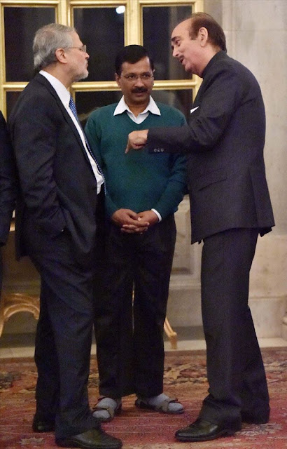 When President Pranab Mukherjee gave French President Hollande a banquet at New Delhi, Chief Minister Kejriwal went wearing sandals and thick woolen socks.  Vishakapatnam's mechanical engineer-turned-businessman Sumit Agrawal did not like it.  He accused Kejriwal of dressing shabbily and shaming the country by not following the dress code for formal occasions. Sumit Agrawal also sent him a demand draft of Rs 364 to buy a pair of formal shoes.