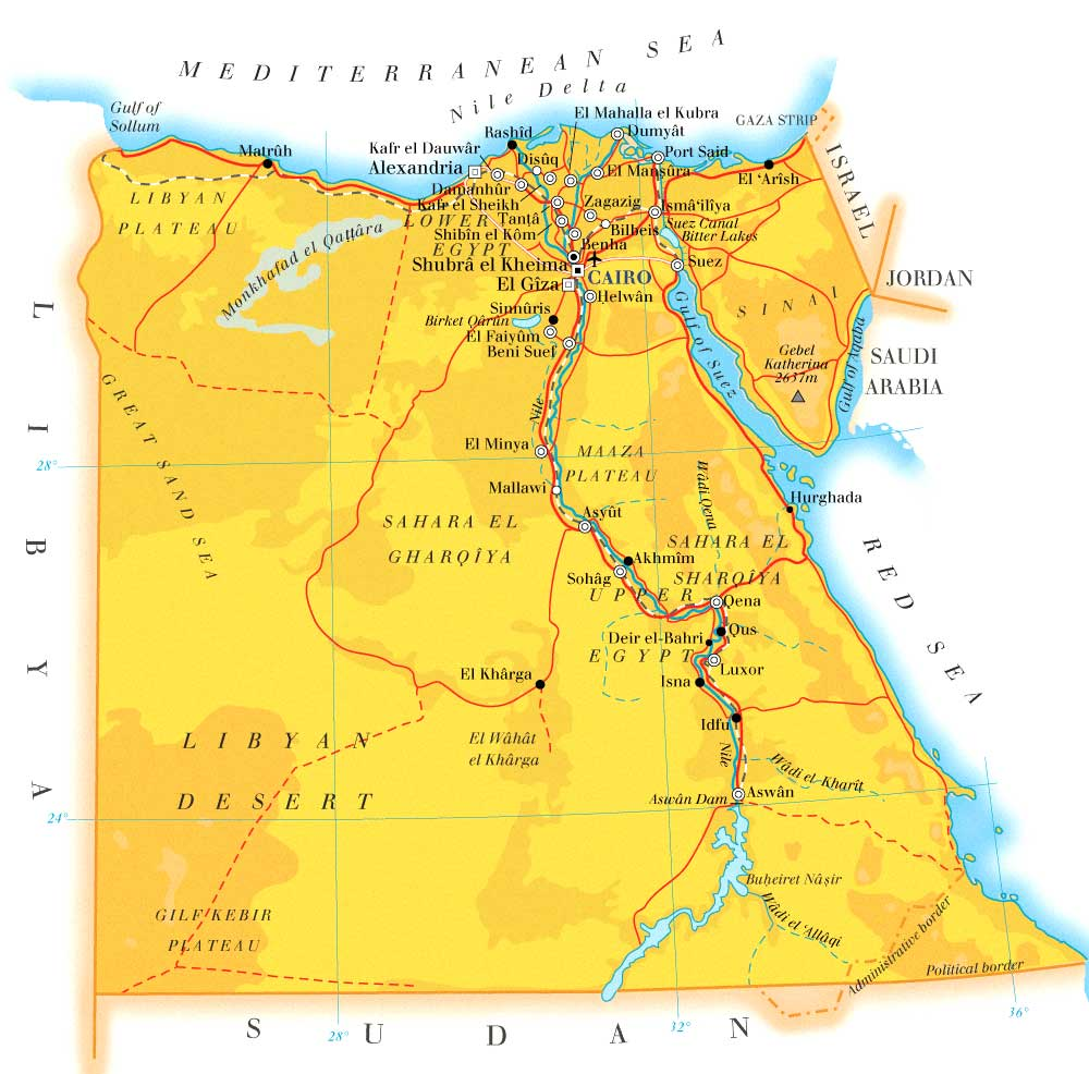 Egypt Country Map | Map of World Region City