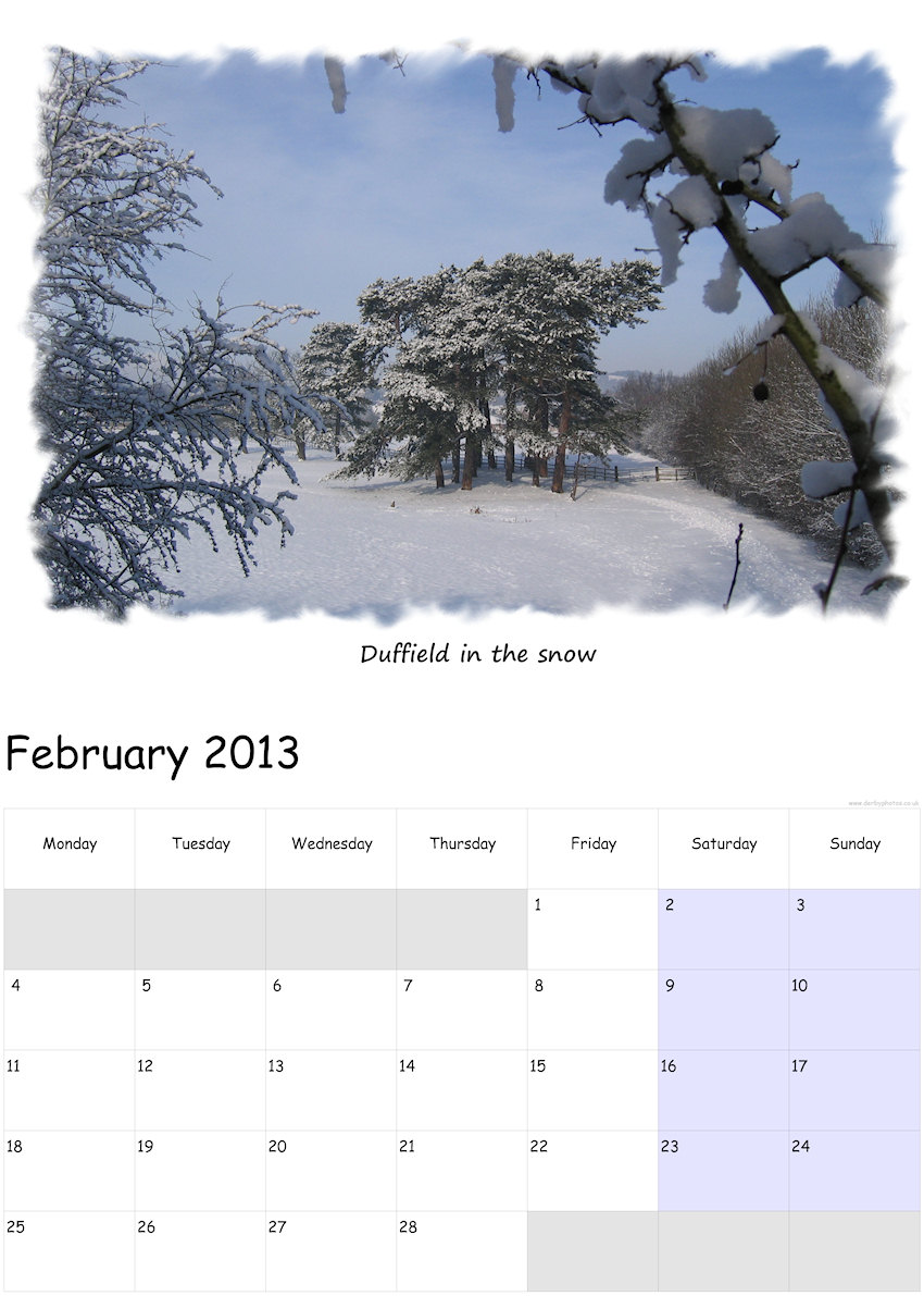 My calendar template with one of my photographs of Duffield used on it