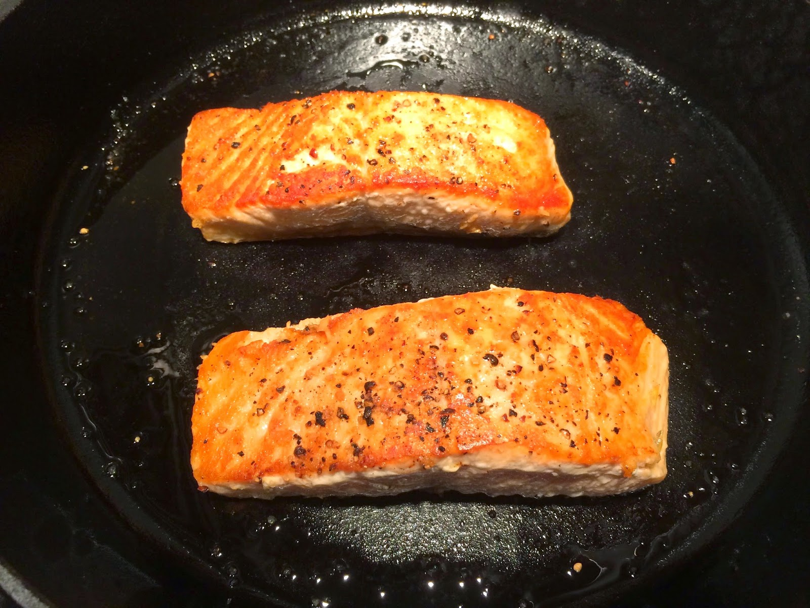 Warm The Oil In Large Cast Iron Skillet Over Very High Heat Season The  Salmon With Salt And Pepper When The Pan Is Very Hot, Place The Salmon  Skin Side Up