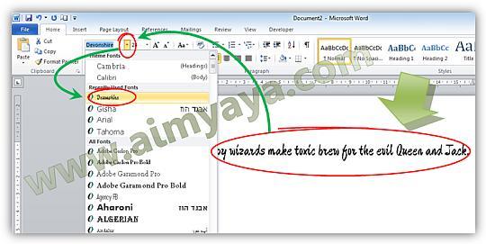 Gambar: Menggunakan font baru hasil download