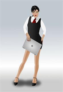 Ejecutiva con laptop con portfolio de trabajos