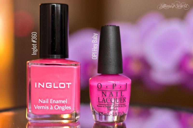 inglot 360 nail polish vs OPI Hey Baby
