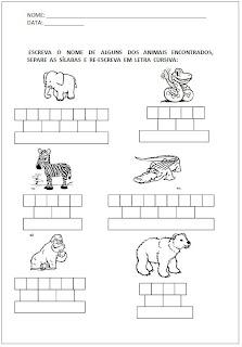 Atividades para Alfabetização - Escreva o nome e separe as sílabas 4