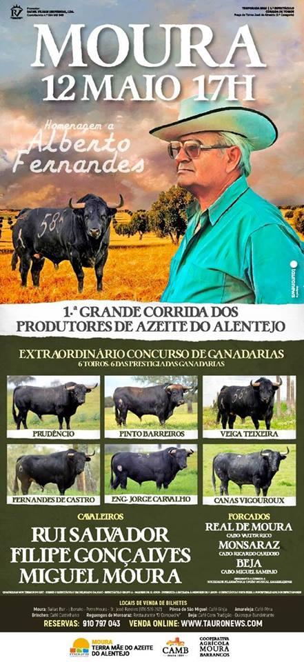 MOURA (PORTUGAL) 12-05-2018. CORRIDA A POTUGUESA. ACTUA RUI SALVADOR.