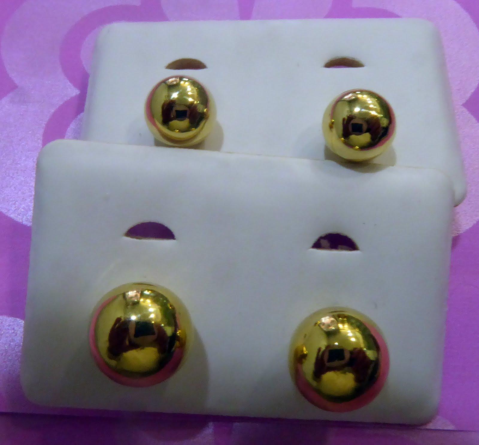 Pendientes de oro de bola