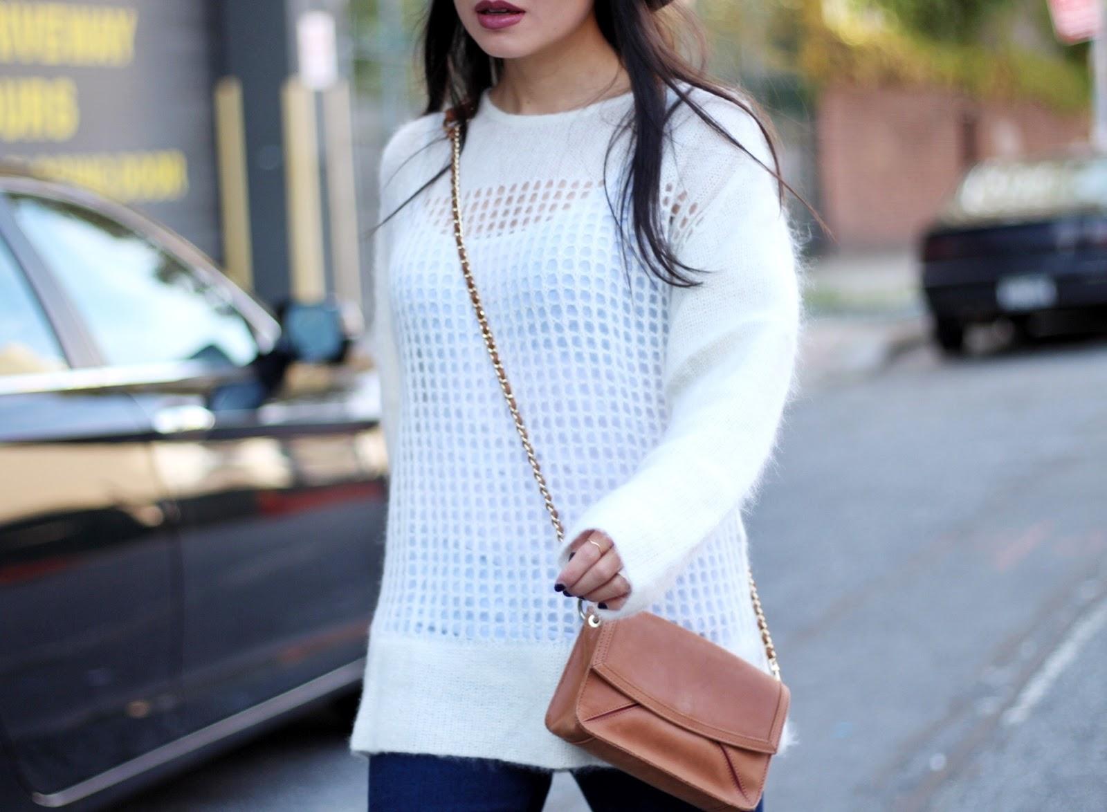 Helmut Lang knit sweater L'agence elysee flares Rag & Bone fedora