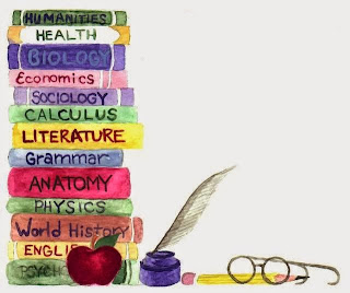 Picture of painting of books needed for education