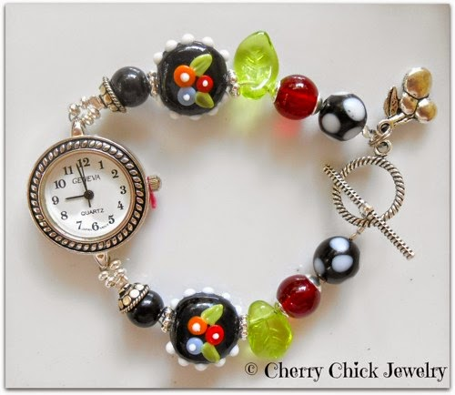 http://www.cherrychickjewelry.com/product/charmed-cherry-lampwork-beaded-watch?tid=4