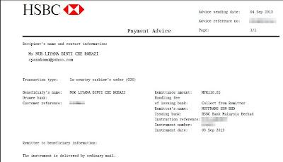 PAYMENT ADVICE HSBC DARI NUFFNANG,cek pertama dari nuffnang, CARA CASHOUT NUFFNANG,