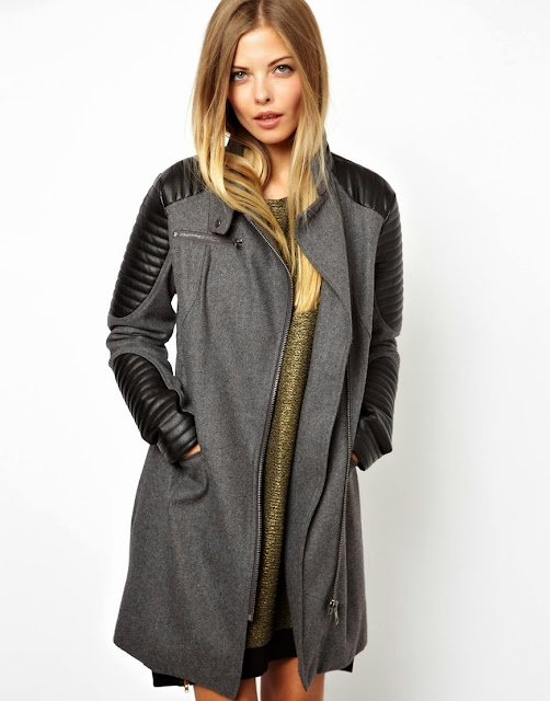 biker coat with leather sleeves