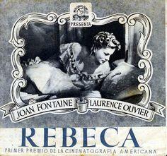 Cartel de la película Rebeca de Alfred Hitchcock, con Joan Fontaine de protagonista.l