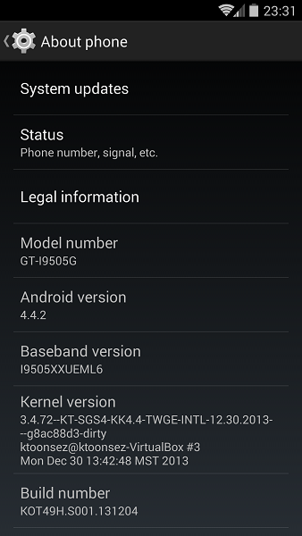 android kitkat update for S4