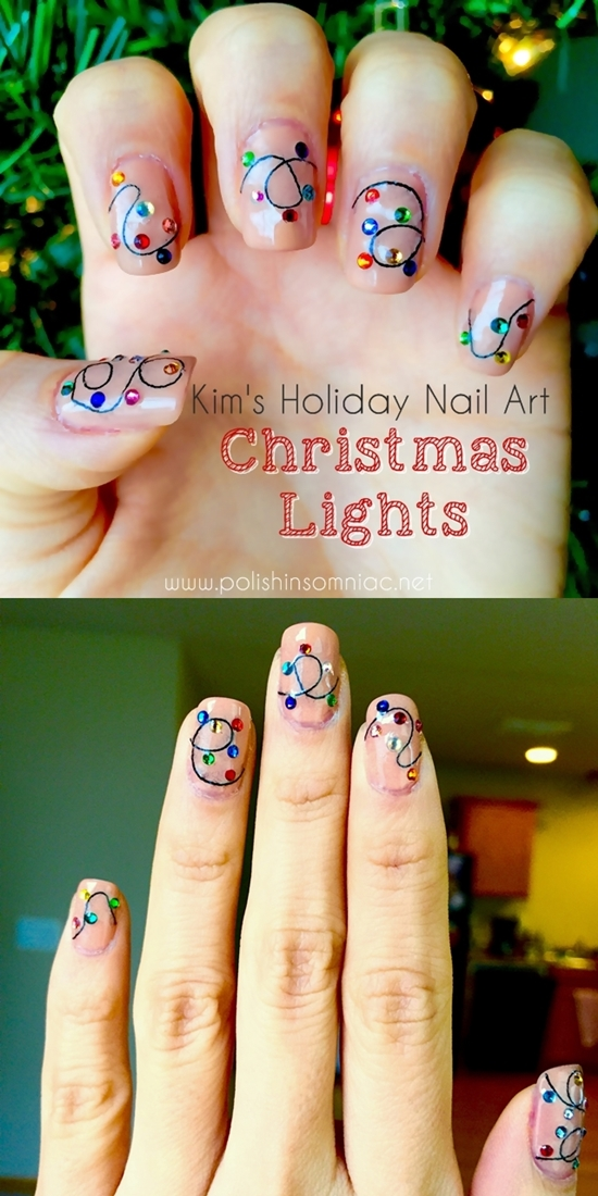 Christmas Lights Nail Art by Kim for polish insomniac