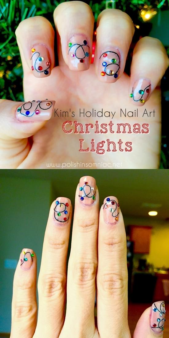 Christmas Lights Nail Art by Kim for polish insomniac