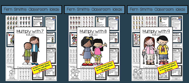 Fern Smith's Classroom Ideas - Multiplication BUNDLE with 7, 8 and 9 - Task Cards, Color By Code and Center Games at TeachersPayTeachers.