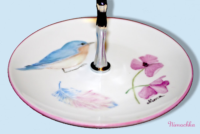cake platter, china, porcelain, hand painted