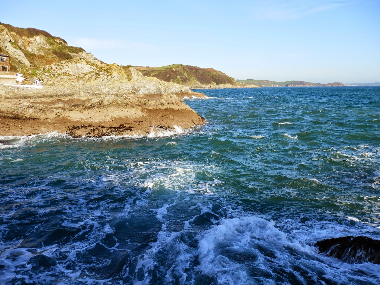Cornish cliffs and sea Mevagissey