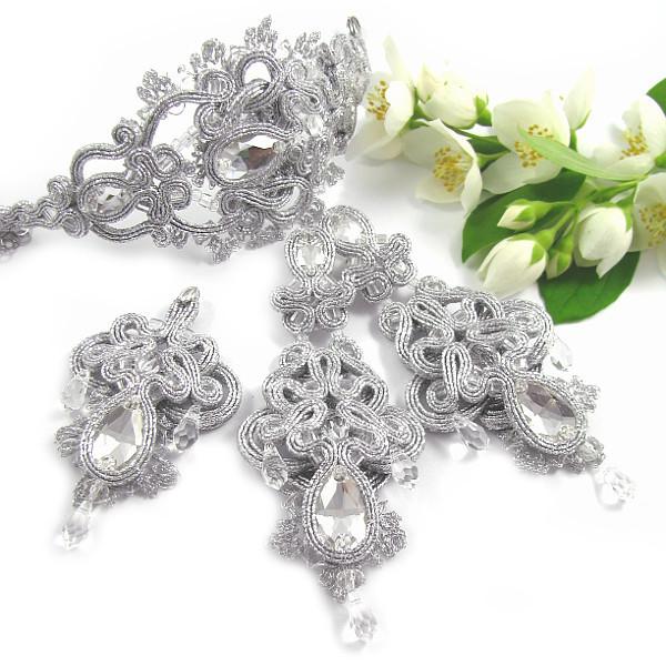 Biżuteria ślubna z sutaszu komplet