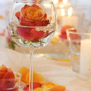 orange rose in wine glass