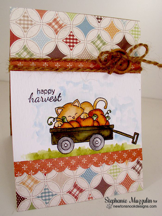 Happy Harvest Card by Stephanie | Wagon of Wishes Stamp set by Newton's Nook Designs #wagon #newtonsnook