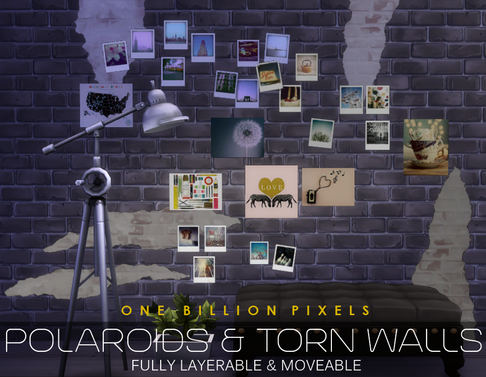 Polaroids torn walls the sims 4 one billion pixels Sims 3 home decor photography