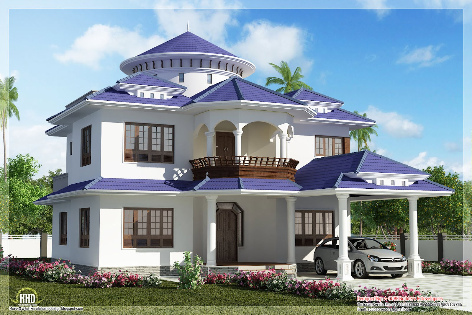 Beautiful dream home design in 2800 kerala house for Dream home design