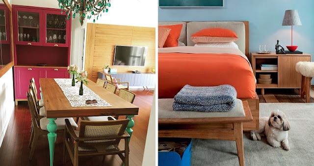 combinação de cores complementares na decoração: vermelho e verde (a esquerda) e laranja e azul (a direita)