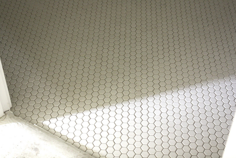 Small hexagon tile in the powder bath. I LOVE this tile. It was an  title=