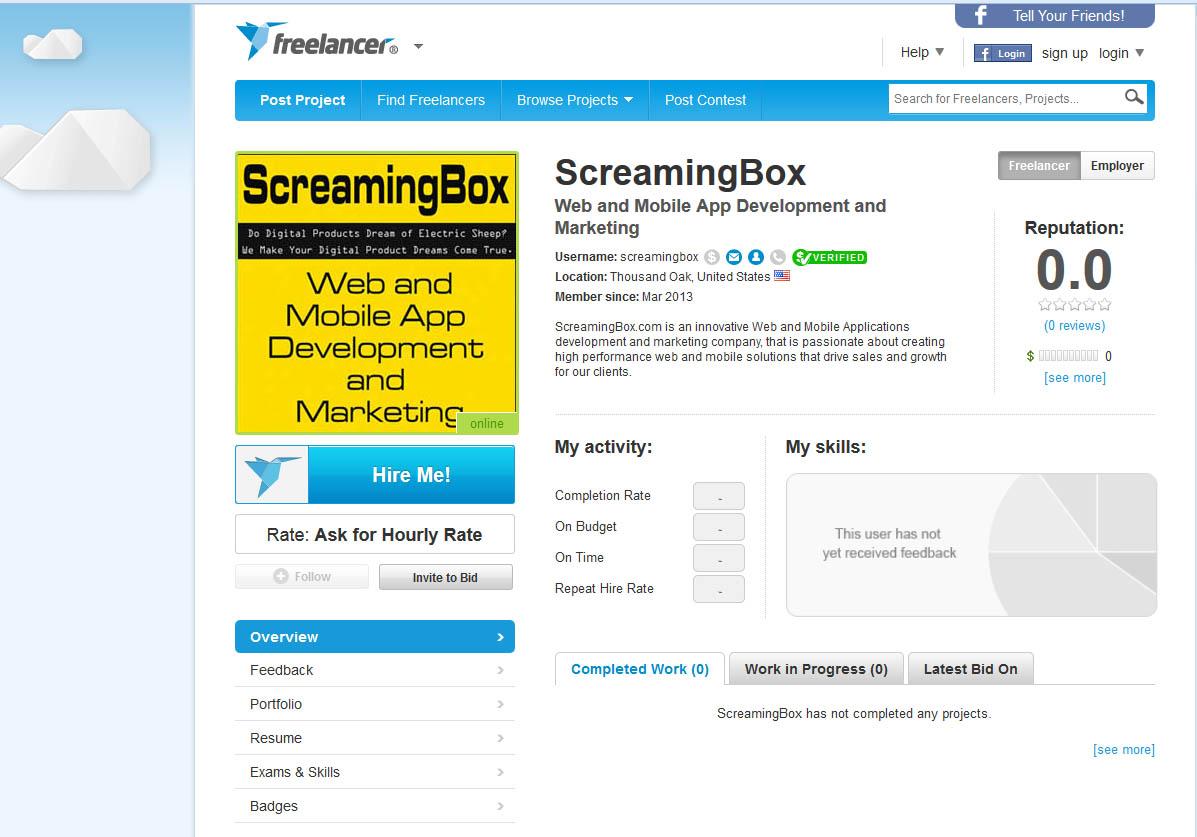 ScreamingBox is now on Freelancer.com