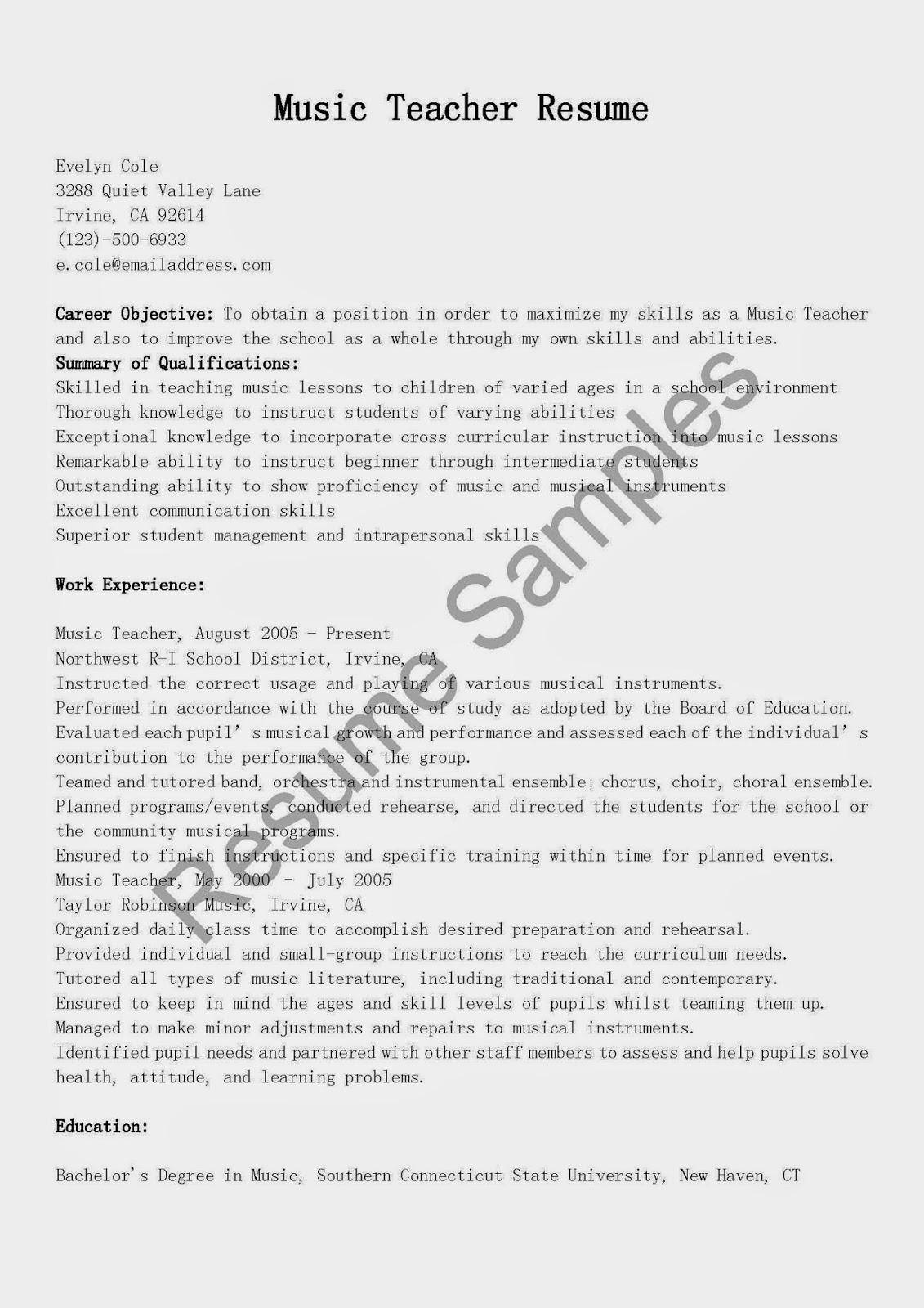 sample music resume resume samples music teacher sample free templates download entry level template