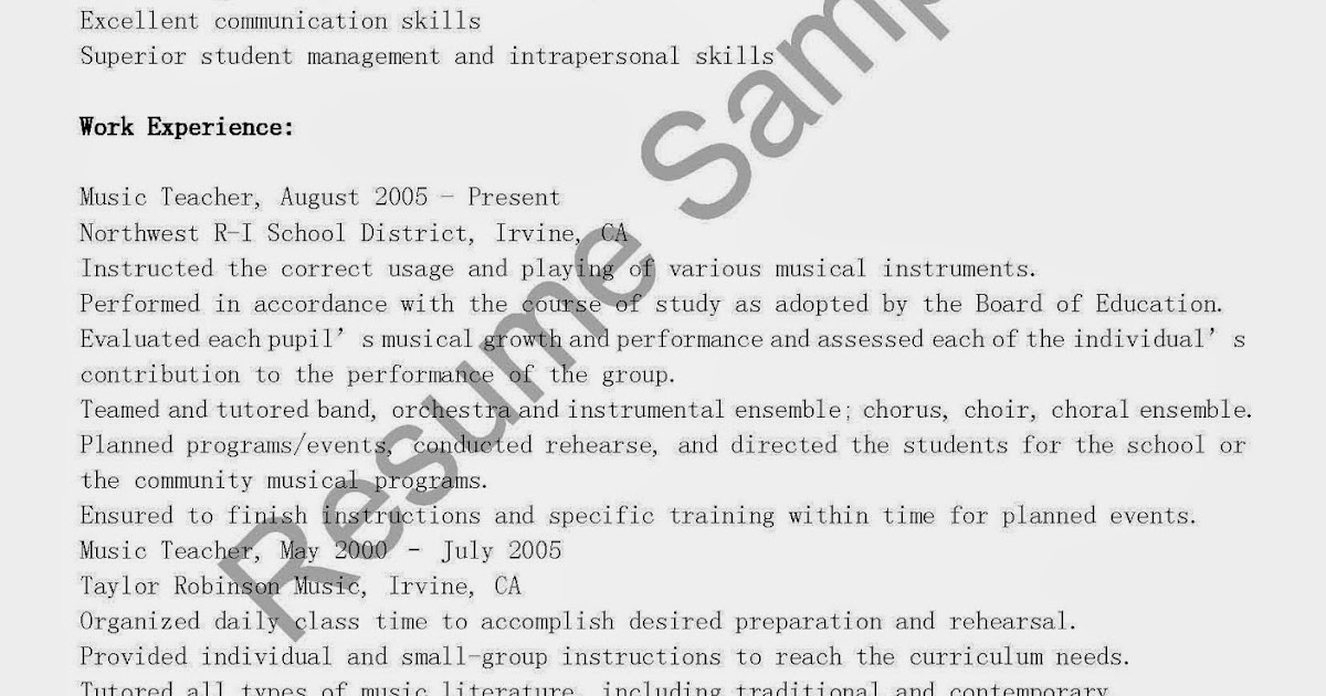 resume samples  music teacher resume sample