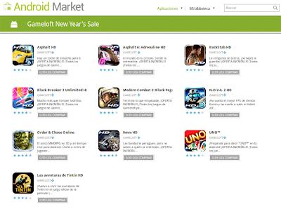 Imagen de Gameloft promocionando sus juegos a 0.99$ en el Android Market