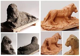 manu lafay sculptures argile lion