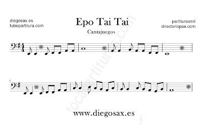 Epo tai tai partitura para Trombón, Tuba, Violonchelo, Fagot, Bombardino... en clave de Fa