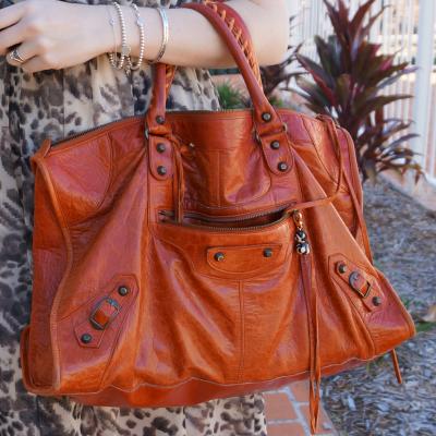 away from blue balenciaga rouille rust orange work bag