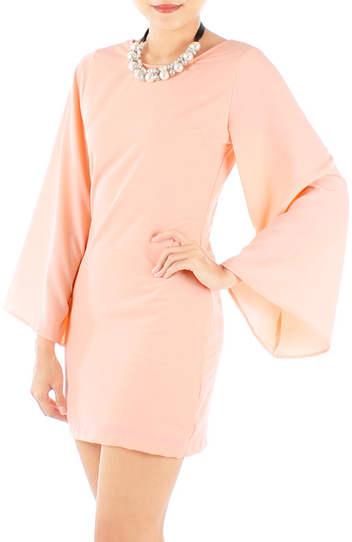 Chime Flare Sleeve Mini Dress in Peach