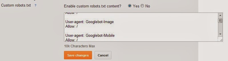 blogger robots.txt feature